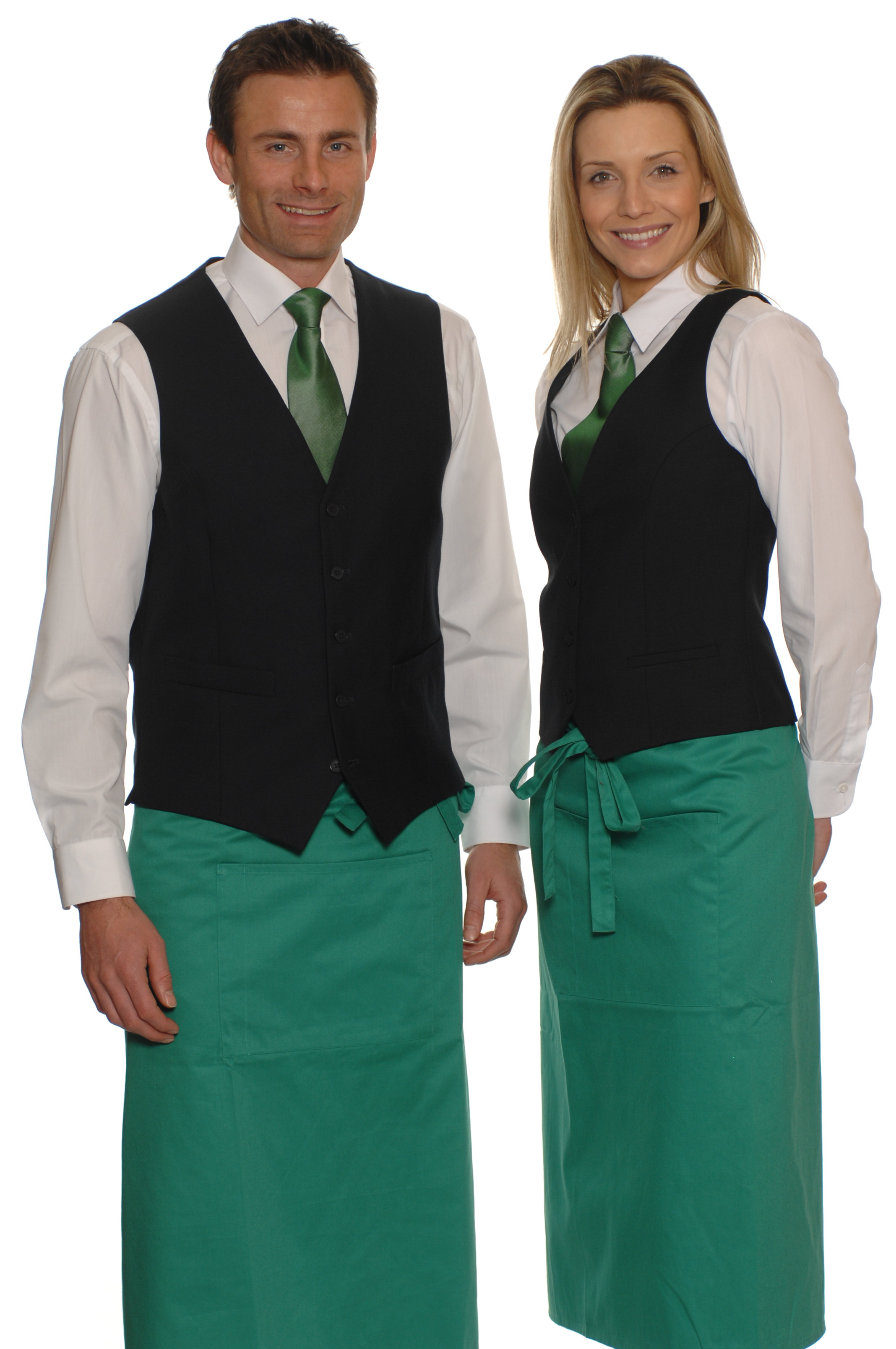 Waiter and waitress in uniform